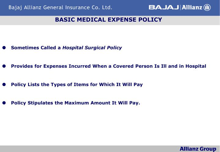 BASIC MEDICAL EXPENSE POLICY