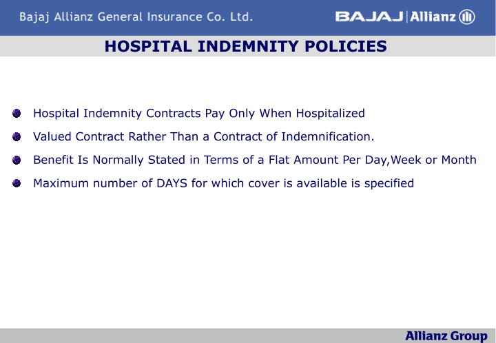 HOSPITAL INDEMNITY POLICIES