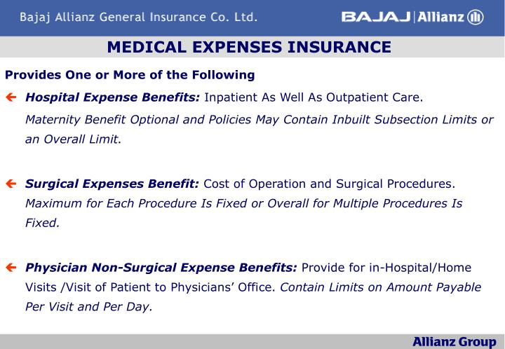 MEDICAL EXPENSES INSURANCE