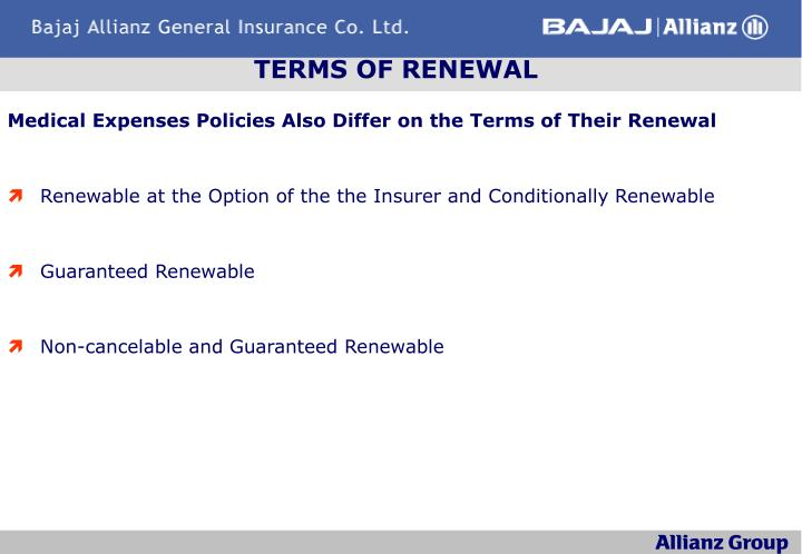 TERMS OF RENEWAL