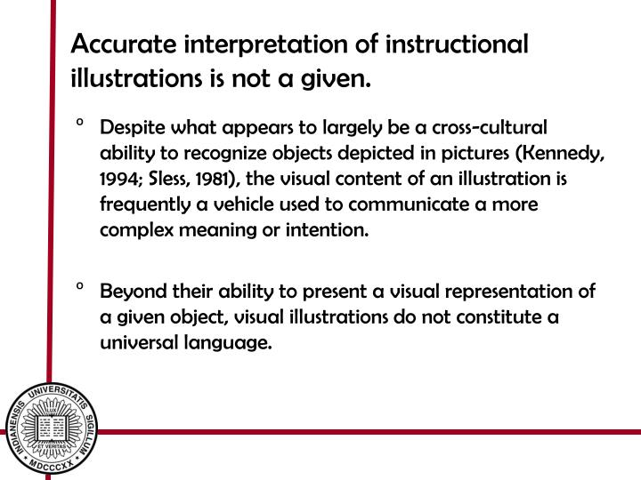 Accurate interpretation of instructional illustrations is not a given.