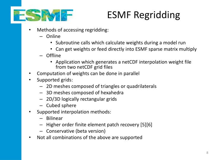 ESMF Regridding