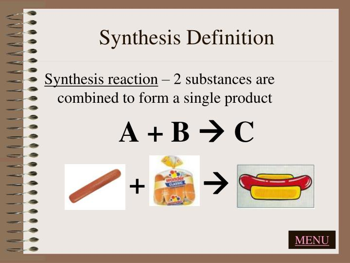 define synthesises Synthesis 1 the process of producing a compound by a chemical reaction or series of reactions, usually from simpler or commonly available starting materials 2 philosophy.