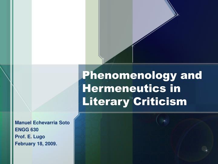 phenomenology and hermeneutics in literary criticism n.