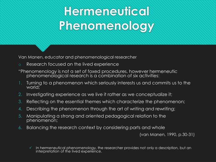 phenomenological thesis An interpretative phenomenological analysis (ipa) investigation of positive psychological change (ppc), including post traumatic growth (ptg) by.