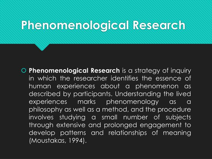 "PPT - Phenomenological Research: ""The Lived Experience ..."