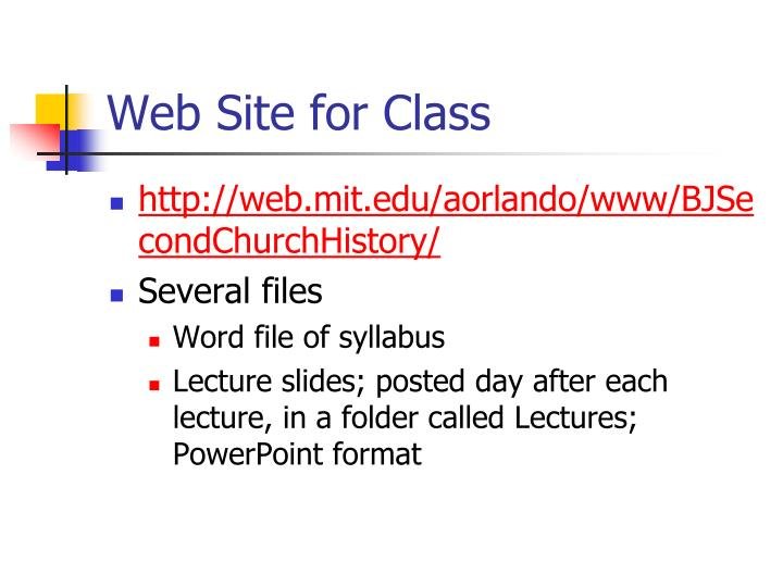 Web Site for Class
