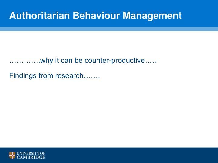 Authoritarian Behaviour Management