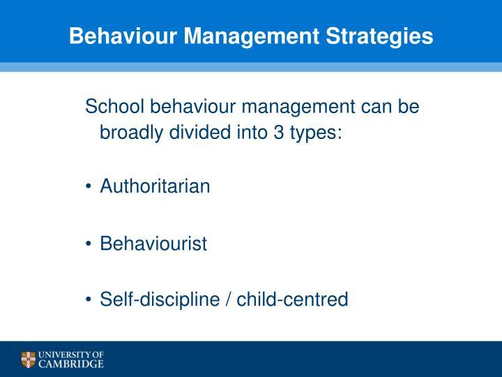 Behaviour Management Strategies