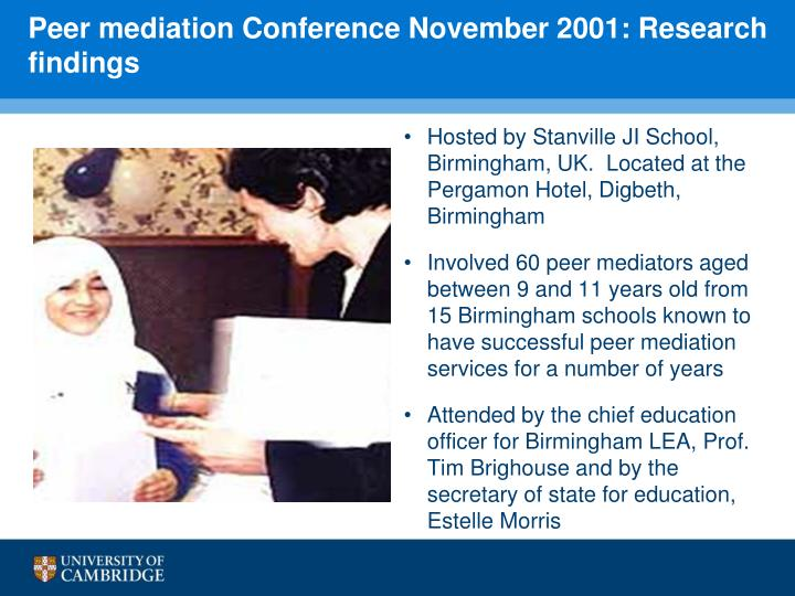 Peer mediation Conference November 2001: Research findings