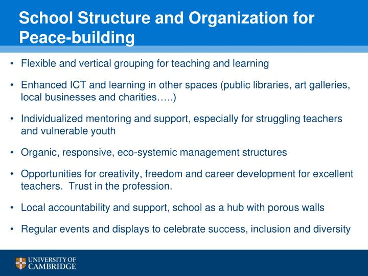 School Structure and Organization for Peace-building