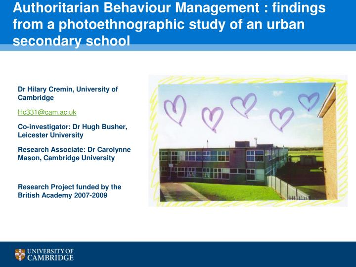 Authoritarian Behaviour Management : findings from a photoethnographic study of an urban secondary school