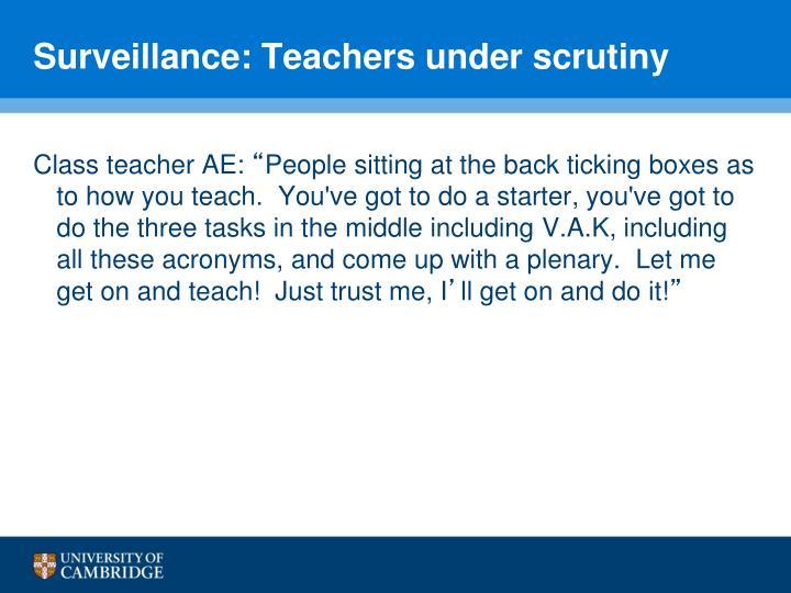 Surveillance: Teachers under scrutiny