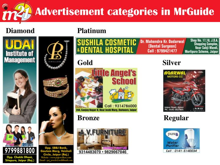 Advertisement categories in