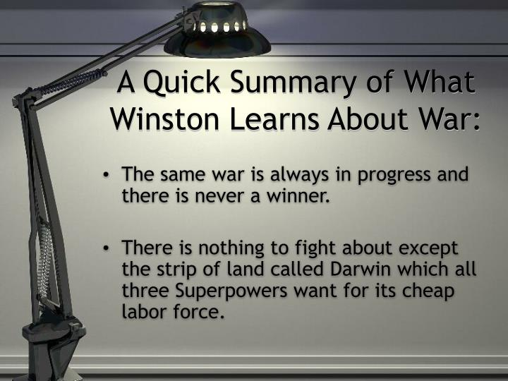 A Quick Summary of What Winston Learns About War: