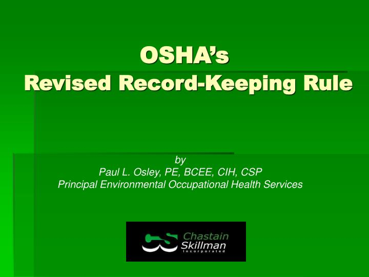 Osha s revised record keeping rule