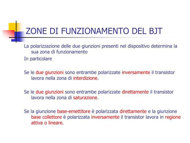 ZONE DI FUNZIONAMENTO DEL BJT
