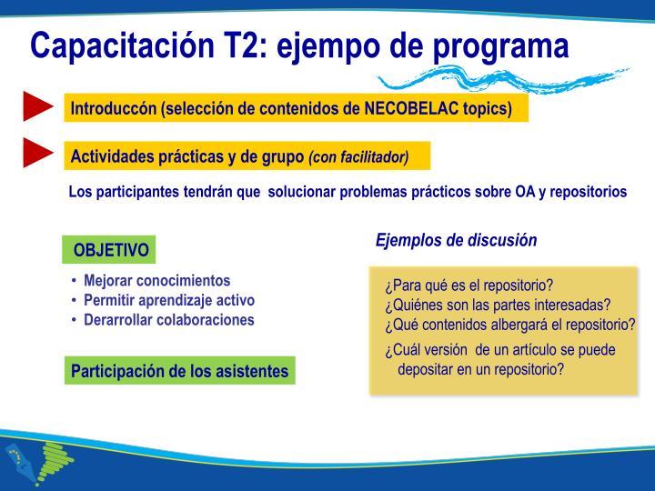 Capacitación T2: ejempo de programa
