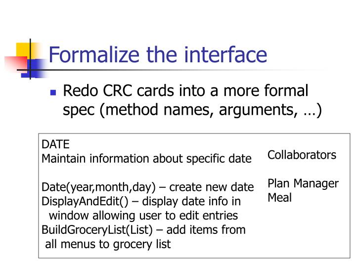 Formalize the interface