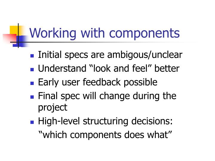 Working with components