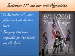 september 11 th and war with afghanistan