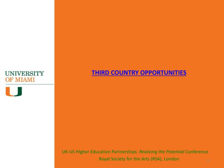 THIRD COUNTRY OPPORTUNITIES