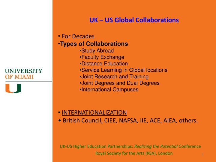 UK – US Global Collaborations