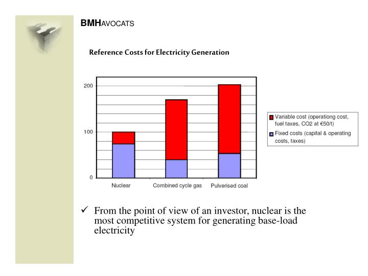 Reference costs for electricity generation