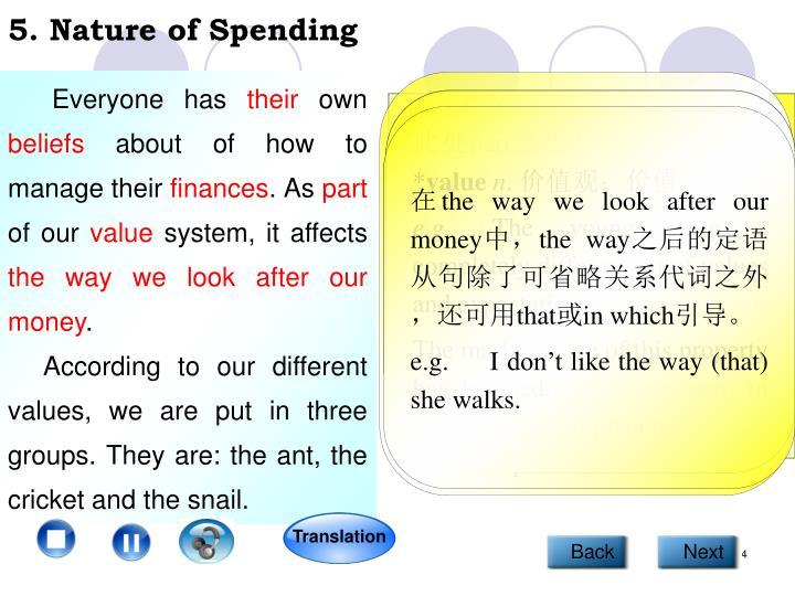 5. Nature of Spending