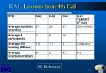 ka1 lessons from 4th call