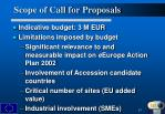 scope of call for proposals