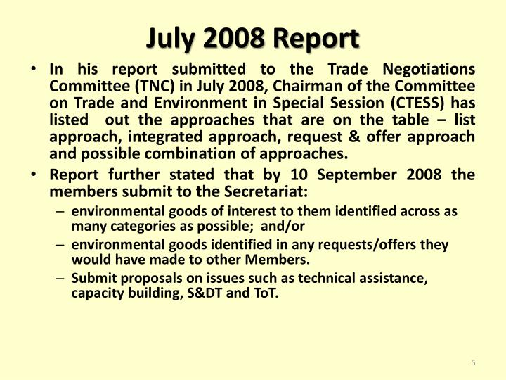 July 2008 Report
