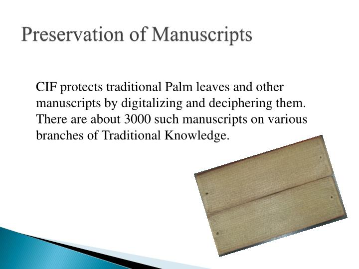 Preservation of Manuscripts