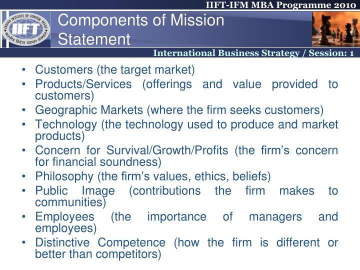 Components of Mission Statement