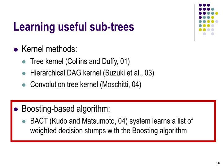 Learning useful sub-trees