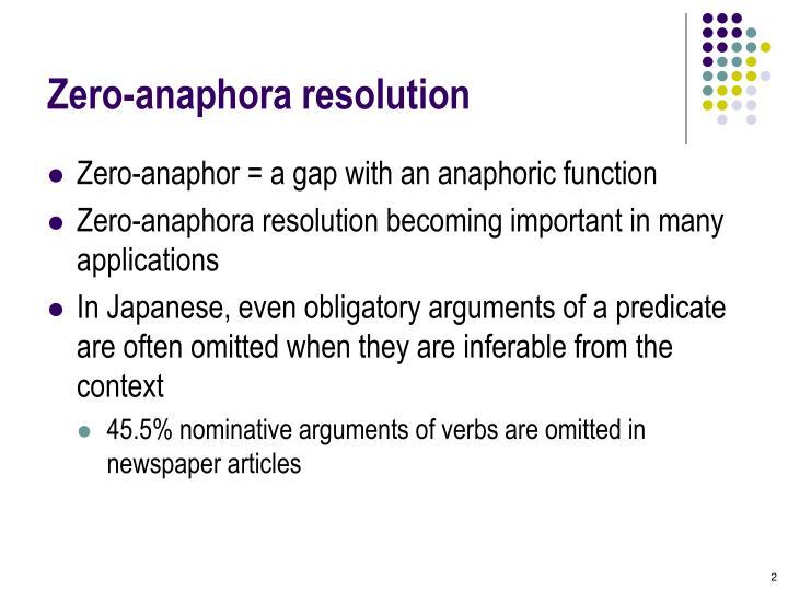Zero anaphora resolution