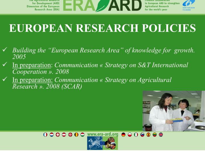 EUROPEAN RESEARCH POLICIES