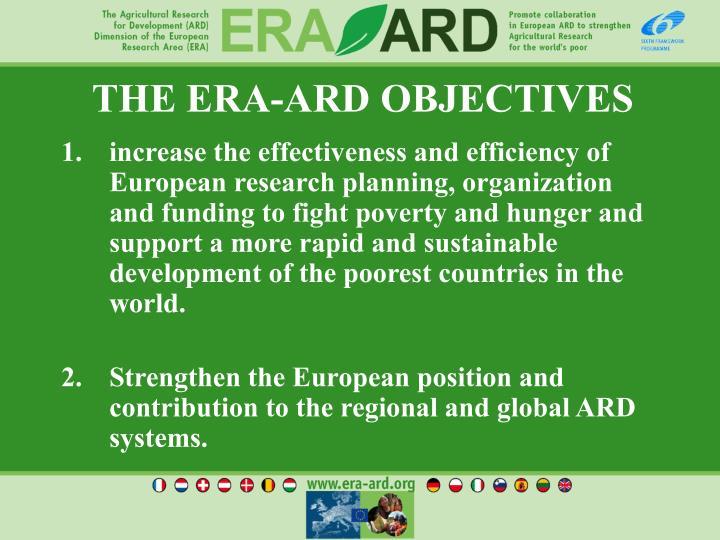 THE ERA-ARD OBJECTIVES