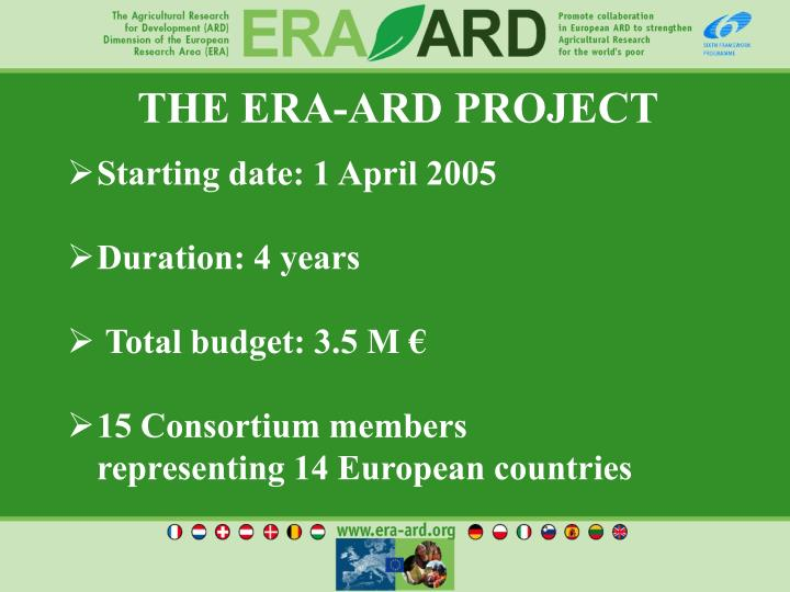 THE ERA-ARD PROJECT