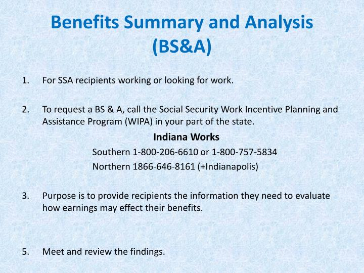 Benefits Summary and Analysis (BS&A)