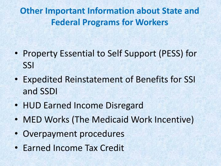 Other Important Information about State and Federal Programs for Workers