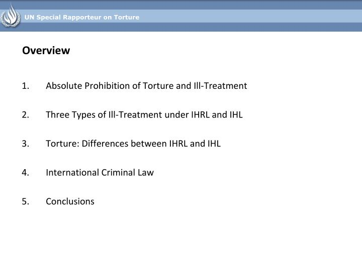 Absolute Prohibition of Torture and Ill-Treatment