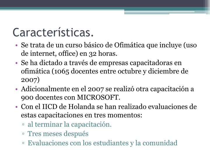 Características.