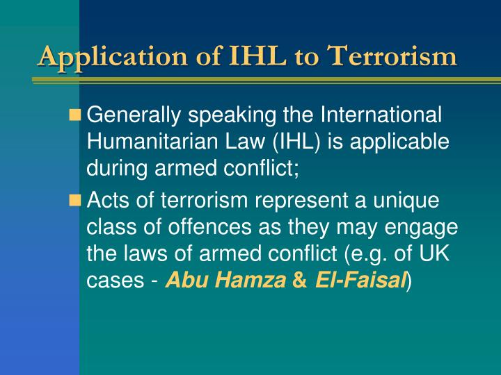 Application of IHL to Terrorism