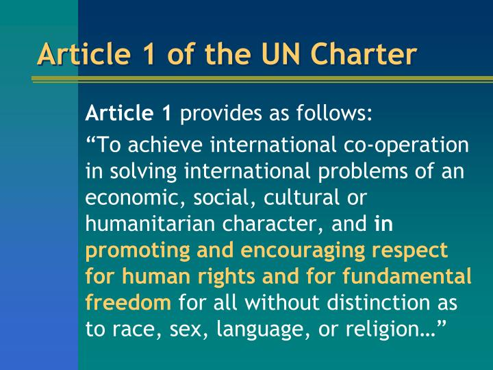 Article 1 of the UN Charter