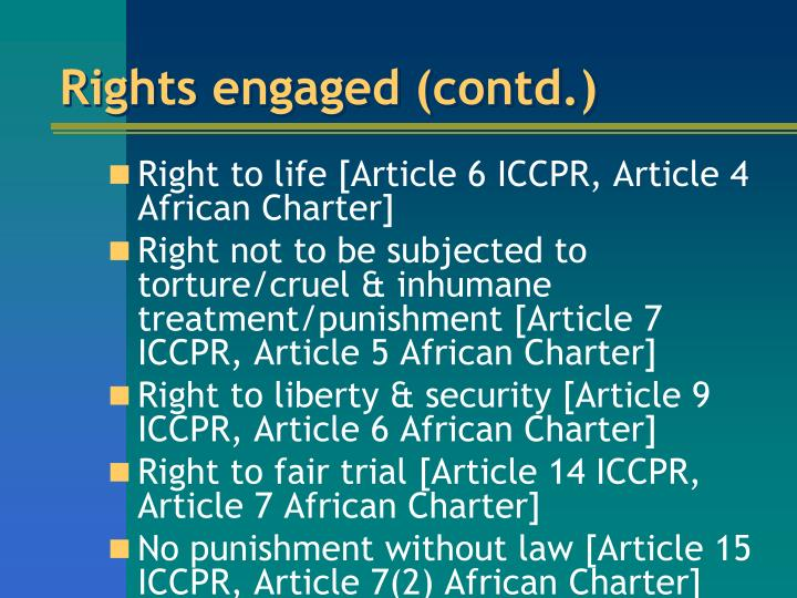 Rights engaged (contd.)