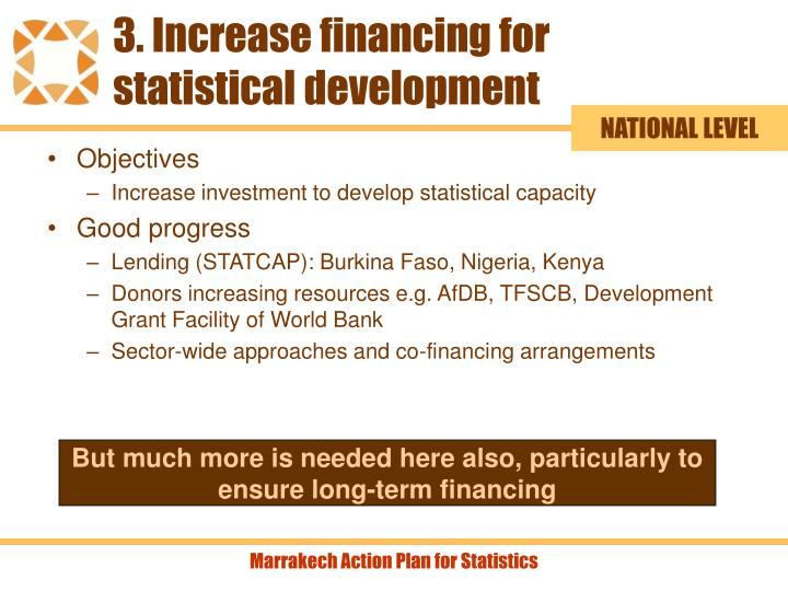 3. Increase financing for statistical development