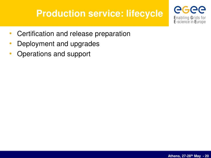 Production service: lifecycle