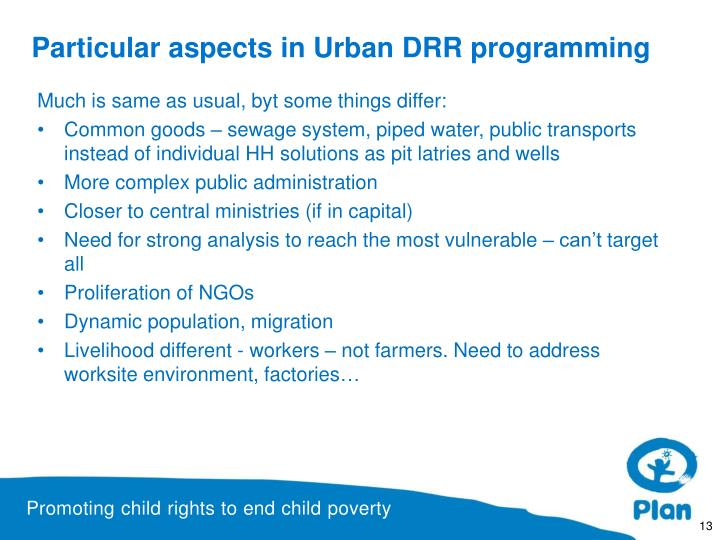 Particular aspects in Urban DRR programming