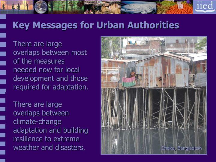 Key Messages for Urban Authorities